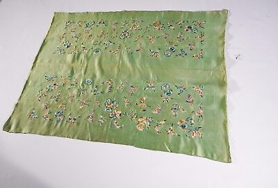 Extraordinary Antique Chinese Green Silk Hand Embroidery Textile -- No Reserve
