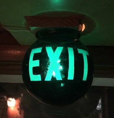 Old Fire Exit Green Glass Round Light Fixture Globe Exit Light Sign Red Rare