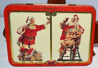 Coca-cola Christmas Santa Double Deck Playing Cards in Tin New French & English