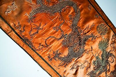 Antique Chinese Dragon Silk Badge Embroidery Textile -- No Reserve