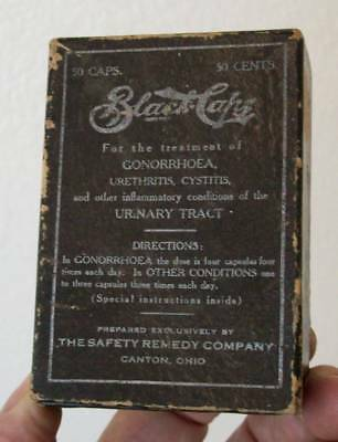 Canton Ohio Safety Remedy Co. Black Caps Gonorrhoea Medicine Advertising Box