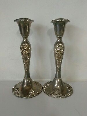 "Vintage Godinger Silverplate Candlesticks 9"" Tall Very Ornated And Heavy"
