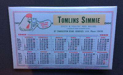VINTAGE 1969 DESK CALENDAR Retro Tomlins Simmie Stock & Poultry Feed Millers