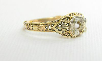 14 k gold and Platinum Victorian Dutch mount/Solitaire Wedding ring