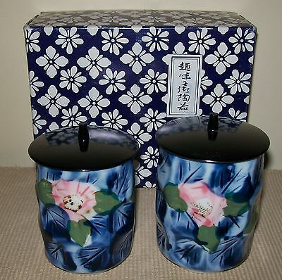 2 x SMALL CERAMIC ASIAN DESIGN CANISTERS / POTS in original gift box 10-10.5cm
