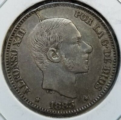 1885 Philippines Spain 50 Centimos .835 Silver Die Crack Obverse
