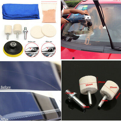 Car Windshield Polishing Kit Scratch Remover 70ml Solution + 3'' Polishing Pads