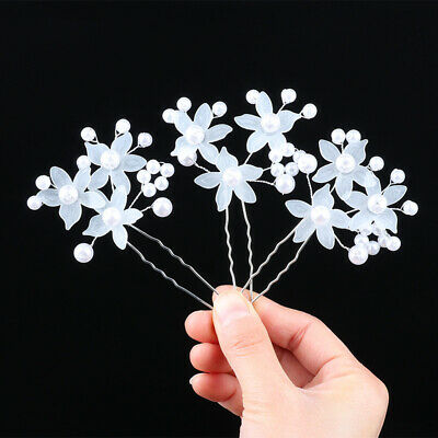 2pcs white flower pearl bridal hair pins clips hairpins accessories wedding