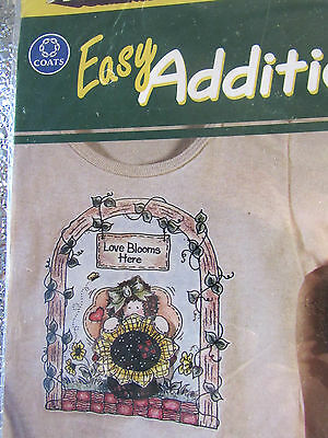 "Easy Additions  ""Love Blooms Here"" Country Design  IRON ON TRANSER by Coats  NIP"