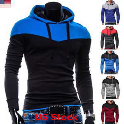 US Men Casual Sports Workout Hoodie Gym Muscle Pullover Sweatshirt Cotton Jumper