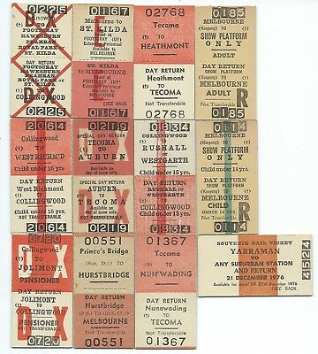 12 Different MELBOURNE Suburban Rtn Tickets inc Russell St
