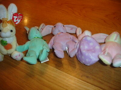 Ty Teenie Beanies  Basket  Teenies X 5 New  Rabbits