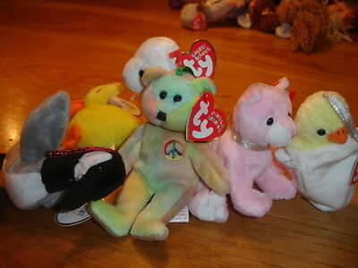 Ty Teenie Beanies  Basket  & Jingle  Teenies X 6 New