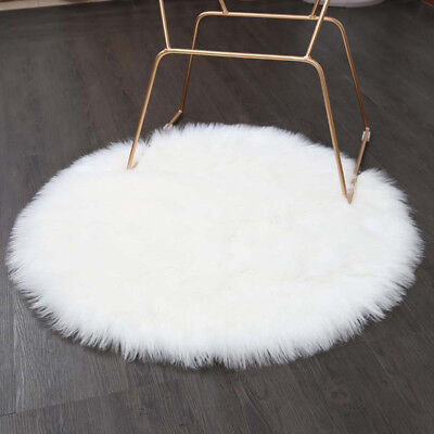 yazi Sheepskin Area Rug Faux Fur Round Carpet Flow Window Mat Chair Throw White