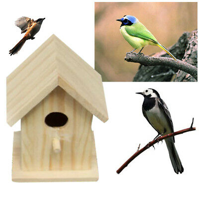 Wooden Outdoor Birds Nesting Box House Nest Home Accessories Craft Yard Home