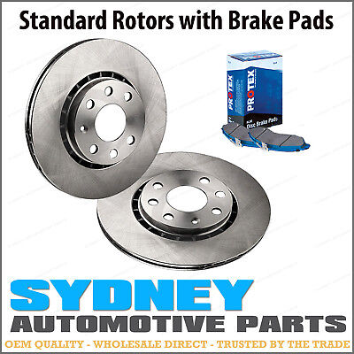 2 Front Disc Brake Rotors + Protex Pads Kit Holden Commodore VT 09/97 - 04/00