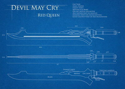 """011 Blueprint -Devil May Cry 4 red_queen Action TV Game33""""x24"""" Poster"""