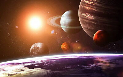 """028 Solar System - The Sun Planets Moons Comets Meteors 38""""x24"""" Poster"""