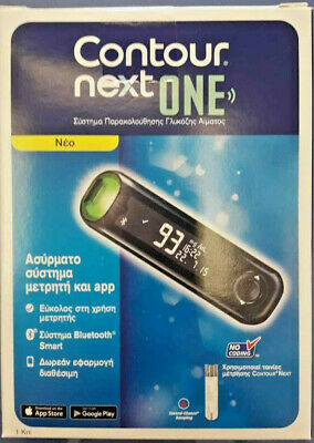 New Contour Next One Blood Glucose Monitoring System Mg/dl+10 Strips & Lancets