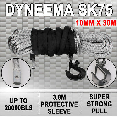 Winch Rope Dyneema SK75 10MM X 30M Synthetic Car Tow Recovery Offroad 4WD Cable