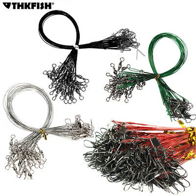 60 Pcs Fishing Line Steel Wire Leader With Swivel 4 Color Fishing Wire