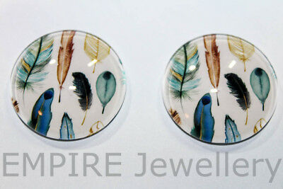 1 x Pretty Bird Feather Pattern 25x25mm Glass Dome Cabochon Cameo