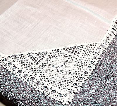 Pretty Crisp White Hand Crocheted Cotton Handkerchief Elegant Lady Wedding Bride