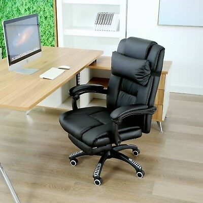 Executive Home Office Chair Fx Leather Computer Pc Footrest Recliner Racing Chai