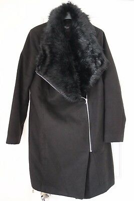 NEW LOOK maternity black winter coat with fur collar - size 12