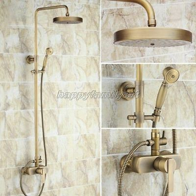 Antique Brass Wall Mounted Bathroom Rainfall Shower Faucet Set Mixer Tap Yrs177