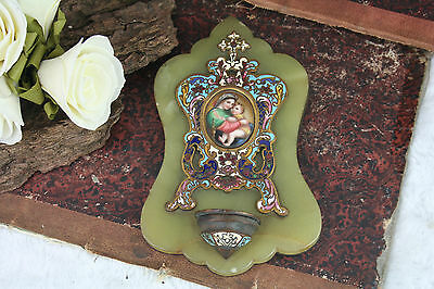 French antique 1900 Champleve enamel onyx marble font miniature madonna