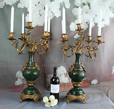 Majestical XXL PAIR french Candelabras Rococo metal/regule green/gold 5 arms