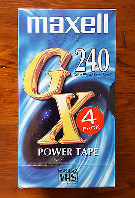 Maxell 4 Pack VHS Video Cassettes Power Tapes 16 Hours Total Japan New Sealed