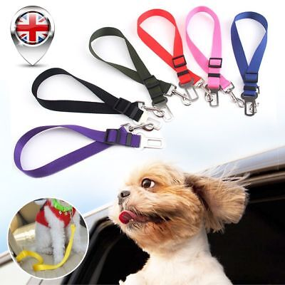 Dog Pet Car Safety Seat Belt Harness Restraint Adjustable Lead Travel Clip Uk