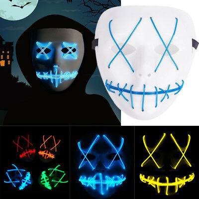 Light Up LED Mask Halloween Cosplay The Purge Movie Face Mask Scary Rave Costume