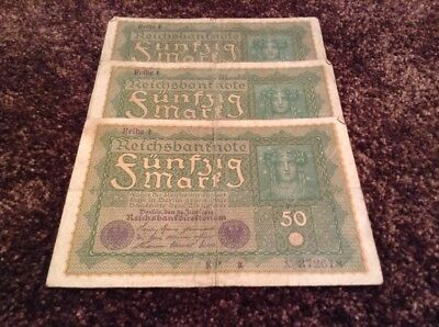 Lot Of 3 X German Banknotes. 50 Marks. Dated 1919. Germany