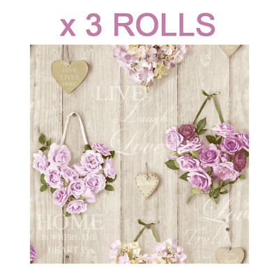 Lilac Roses Wallpaper Wood Panel Flower Floral Bouquet Hearts Natural x 3 Rolls