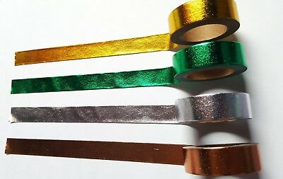 1 x 10m Roll Adhesive Craft Washi Tape - 15mm - Metallic Foil [Various Colours A