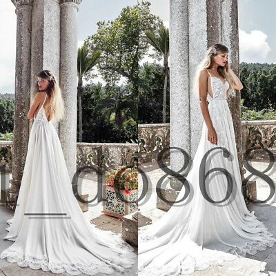 Country Beach Wedding Dress Spaghetti Straps Ivory A Line Backless Bridal Gown