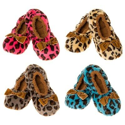 Snoozies washable slippers super soft warm fleece cosy style Animal print c asst