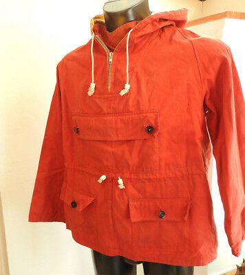 Vintage 1960's Hiking Smock Mountain Rescue Wind Proof Smock Red Ventile (4971)