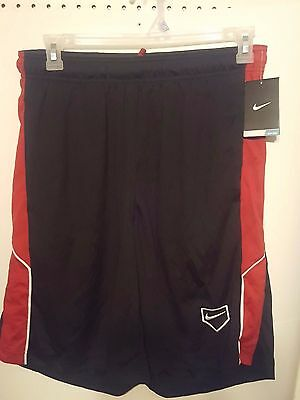 Men NIKE DRI FIT BASKETBALL ATHLETIC SHORTS BLACK  RED Mens Size MEDIUM