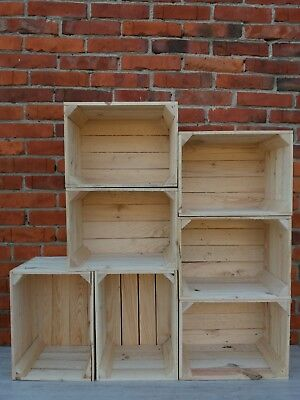 2,3,4,5,6,8 or 10 Strong&Solid Storage Wooden Crates Fruit Apple Box Decor-Clean