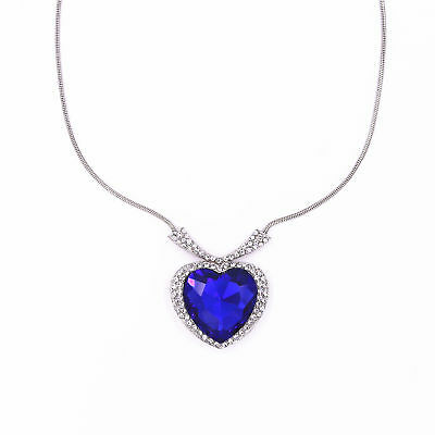 Titanic Heart Of The Ocean Sapphire Big Blue Crystal Necklace Pendant Gift Uk