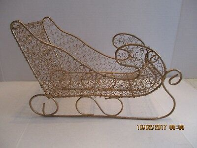 """7.5"""" x 11"""" Gold Wire Wrapped Sparkly Decorative Christmas Sleigh"""