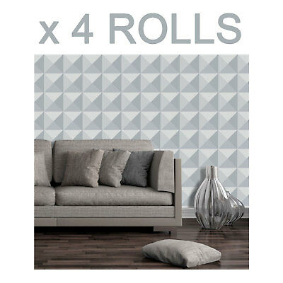 Grey Charcoal 3D Effect Wallpaper Modern Luxury Futuristic Paste The Paper x 4