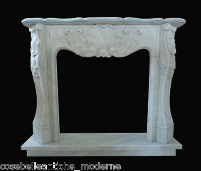 Frame Fireplace fireplace White Marble Carrara Marble fireplace louis XV L.150cm