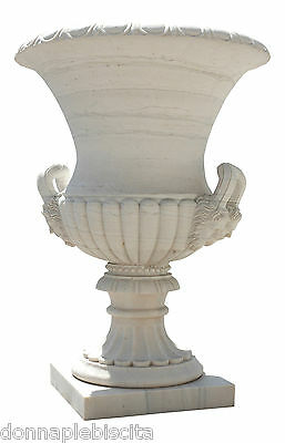 Grande Jar white Marble Decorated Sculptures Relief Handcarved Marble Big Vase