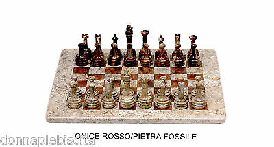 Chessboard in onyx Red and Stone Fossil Marble Chess Set Classic Home Design