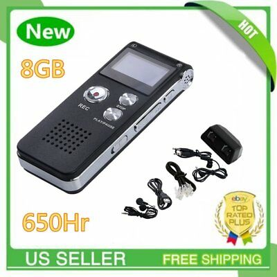 Digital Audio Voice Sound Recorder MP3 8GB 650 hr Rechargeable Dictaphone MA